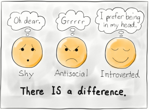 Creo que se confunde fácilmente la timidez, la sociopatía y la introversión.